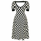 Womens Retro 60s Style Black and White Checked Party Dress