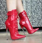 Sexy Womens Pointy Toe Lace Up Stilettos High Heel Patent Leather Zip Club Boots