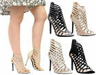 Ladies Women Cut Out Stiletto High Heel Ankle Strap Gladiator Sandals Shoes Size