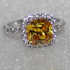 HOT-Gift Womens 925 Silver Yellow Topaz Ring Wedding Nor Fade Size 6,7,8,9,10