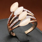 Size 6,7,8 NICE Jewelry Women's Four-Stone Oval Moonstone Rose Gold Filled Ring