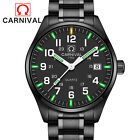 New Mens Waterproof Watch Green Tritium Light Military Stainless Steel Watches