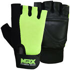 MRX Weight Lifting Gloves Gym Fitness Training Leather With Strap Green/Black