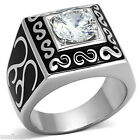 Mens 2.76ct Clear CZ Classic Round Stone Silver Stainless Steel Ring