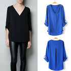 AU Women's Lady Girl Chiffon Long Sleeve V Neck Loose T-Shirt Tee Top Blouse