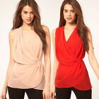 New Fashion Women's Cross Winding Stacked Waist Chiffon Shirt Tops Blouse