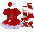 4PCS Baby Girl Christmas Birthday Party Tutu Dress Romper Jumpsuit Clothes 0-12M