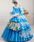 Court Organza Lace Victorian Trumpet Sleeves Sequined Costume Prom dress BLUE