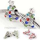 5pc Crystal Christmas Xmas Tree Charms Colors Beads Fit Snake Bracelet DIY Gift