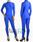 80's Blue Spandex Mock Neck Shiny Unitard,Bodysuit Aerobic Costume S-3XL