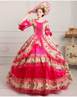Women Court Lace Victorian Trumpet Sleeves Floral Costume Prom dress Rose Pink
