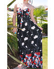 Black Mod Red Vine Floral Tube Halter Long Maxi Dress S/M,M/L