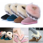 UK Hot women winter warm high snow Ankle boots faux rabbit fur tassel flat shoes
