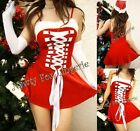 Red Santa Womens Halloween Costume Dress,Hat,Thong Set S-2XL