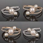 Charm Crystal Pearl Beads Gem Diamante Gold/Silver Plated Bangle Bracelet