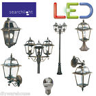 SEARCHLIGHT BLACK GOLD DIE CAST LED 5.9W OUTSIDE GARDEN LANTERN LAMP POST
