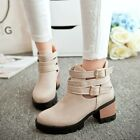 Women's Buckles Zip Block Mid Heel Round Toe Riding Ankle Boots Casual Shoes Sz
