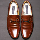 Excellent Mens Leather Motion Loafers Dress Brown Shoes