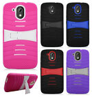 For HTC Desire 526 Hard Gel Rubber KICKSTAND Skin Case Phone Cover +Screen Guard