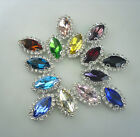 New 9X18mm horse eye shape crystal Color Faceted Glass Jewels silver bottom sew
