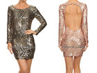 GOLD BLACK PATTERN SEQUIN Long Sleeve DRESS Mini Sexy Cocktail Backless S M L