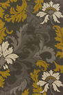 Grey Contemporary Leaves Petals Vines Buds Area Rug United Weavers 702-21172