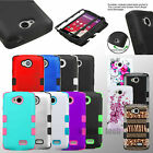 Hybrid Hard Case Tuff Protective Stand Cover For LG F60 Tribute LS660 Transpyre
