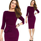 Sexy Women's 3/4 Sleeve Party Pencil Dress Elegant Round Neck Cocktail Dress