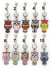 Owl Dangle  Belly  Bar Ring Clear Gem 14g 10mm   Choose Design # from Photo  #OW