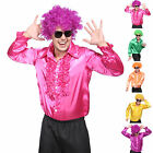 Mens 60s 70s Disco Dancing Suit Metallic Ruffle T-Shirt Top Fancy Dress Costume