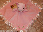 SECURITY BLANKET PINK BEAR FLOWERS STEPPING STONES  BABY SOFT RUFFLE NEW BLANKEY