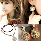 Korean Women Hollow Gold Rose Crystal Dangle Drop Stud Earring+Necklace Hot Gift