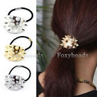 Elastic Spike Rivet Hair Cuff Wrap Bright Metallic Crystal Hinged Ponytail Band