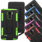 Rugged Holster Case Cover with Kickstand & Belt Swivel Clip For LG G Stylo LS770
