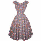 Hell Bunny Grey Floral Antonella 1940s Wartime WW2 Summer Tea Victory Sun Dress