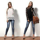 NEW Lace Tops Chiffon Shirt Womens Ladies Long Sleeve Embroidery Blouse UK Ship