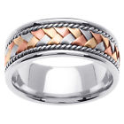 14K Tri Color Gold Hand Braided Wedding Band 8.5mm (WJRL01304)