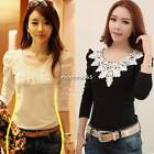 New Fashion Sexy Women Lady Lace Slim Fit Floral Long Sleeve Tops Bluose T-Shirt