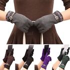 Womens Lady Touch Screen Lace Trim Weaved Knit Wrist-Gloves Mittens Short Gloves