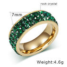Stainless Steel Ring, Vintage, Golden, Green, Crystal KR2083