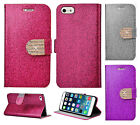 Apple iPhone 6 6S Plus 5.5 Premium Diamante Glitter Leather Wallet Flip Case
