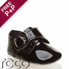 Baby Boys Black Special Occasion /christening Buckle Soft Sole Dress Shoe
