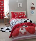 "Kids Football Red Fully Lined Curtains, Pencil Pleat Bedroom Curtains 66"" x 72"""