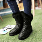 winter womens faux fur round toe flat heel mid-calf high snow boot shoes 2colors
