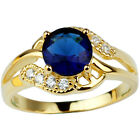 Gold Plated .925 Sterling Silver Ring for Women 7mm Round Sapphire Blue Stone