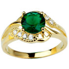 Yellow Gold Plated .925 Sterling Silver Ring 7mm Round Emerald Green Jewelry