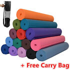 YOGA MAT PVC Thick Exercise Fitness Physio Pilates Gym Mats Non Slip Carrier 418