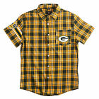 Green Bay Packers Short Sleeve Flannel Shirt Wordmark Klew NEW $51.36 CAD on eBay
