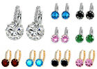 Hot Silver Unique Colorful Round Cubic Zirconia Hoop Earrings