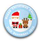 Personalised Cute SANTA & RUDOLPH Christmas Badge (58mm)